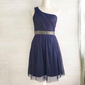 {Max & Cleo} Dark Knight one shoulder dress, 8